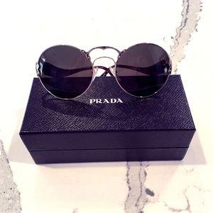 Prada PR55TS AVN4J1 Gold Silver Green Sunglasses